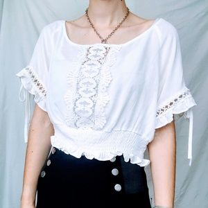 Brand New Bohemian White Peasant Blouse